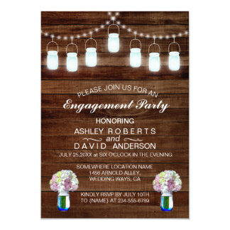 Rustic Mason Jars String Lights Engagement Party Card