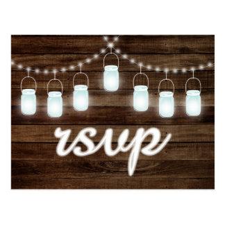 Rustic Mason Jars String Lights RSVP Postcard