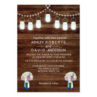 Rustic Mason Jars String Lights Simple Wedding Card