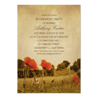 Rustic Meadow Poppy Flowers Retirement Party Card