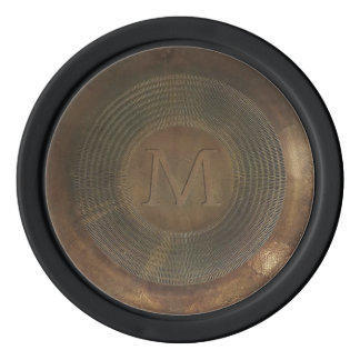 Rustic metal M monogram poker chip