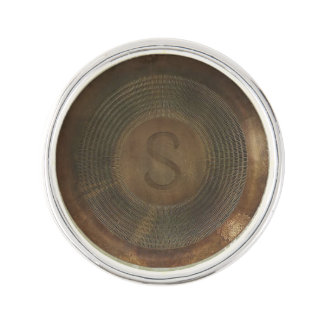 Rustic metal S monogram lapel pin