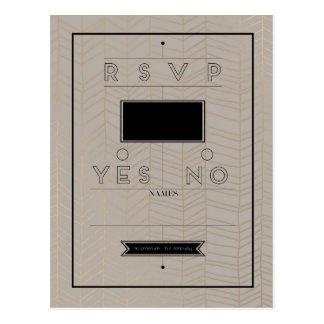 Rustic Modern RSVP Card Postcard