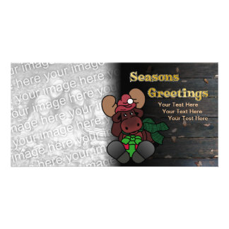 Rustic Moose Seasons Greetings Holiday Card Personalized Photo Card