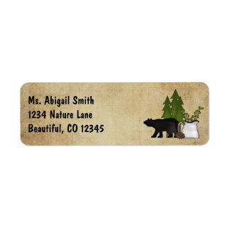 Rustic Mountain Country Silhouette Bear Address
