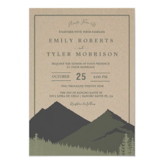 Rustic Mountain Woodland Forest Wedding Invite