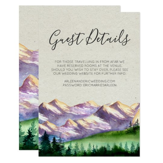 Rustic Moutain Wedding Guest Details Card