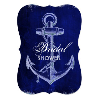 rustic Navy Blue anchor nautical bridal shower Card