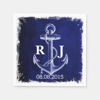rustic Navy Blue anchor nautical wedding Disposable Napkins