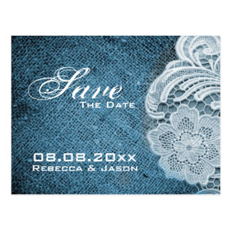 rustic navy blue burlap lace country save the date postcard