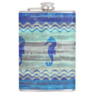 Rustic Navy Blue Coastal Seahorses Hip Flask