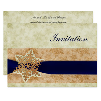 "rustic ""navy blue"" winter wedding Invitation cards"