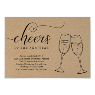 Rustic New Year's Eve Party on Kraft Background Card