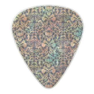 Rustic Oil Paint Damask Red Rust and Patina Green Pearl Celluloid Guitar Pick