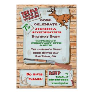 Rustic Old Buck Deer Hunting Birthday Party Card