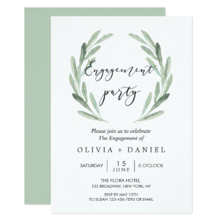 Rustic Olive Branch Wreath Engagement Party Card