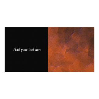 Rustic Orange Brown Blue Hightlights Abstract Art Customized Photo Card
