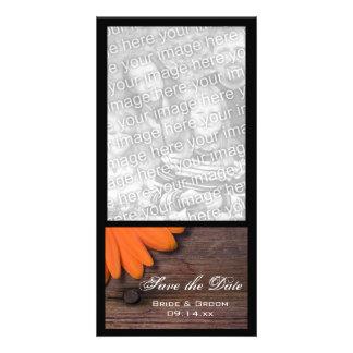 Rustic Orange Daisy Barn Wedding Save the Date Card
