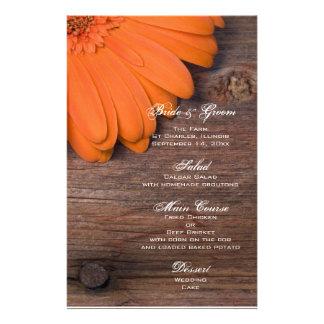 Rustic Orange Daisy Country Barn Wedding Menu