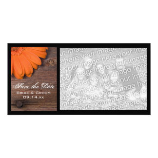 Rustic Orange Daisy Country Wedding Save the Date Photo Greeting Card