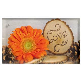 Rustic Orange Daisy Woodland Wedding Place Card Holder