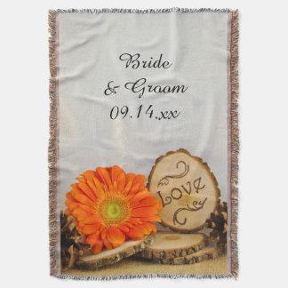 Rustic Orange Daisy Woodland Wedding Throw Blanket