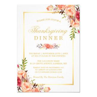 Rustic Orange Floral Chic Gold Thanksgiving Dinner 13 Cm X 18 Cm Invitation Card