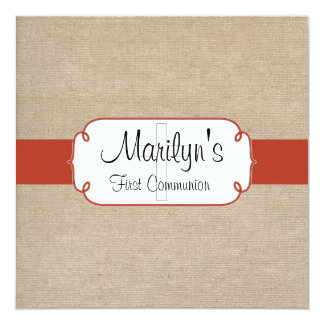 Rustic Orange Rust & Beige Burlap First Communion Card