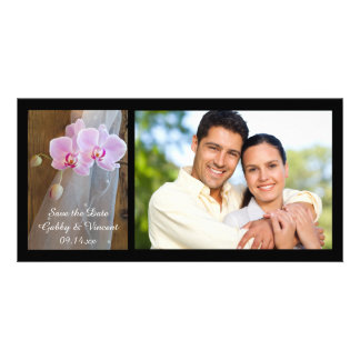 Rustic Orchid Elegance Wedding Save the Date Personalized Photo Card