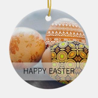 Rustic Painted Easter eggs Round Ceramic Decoration