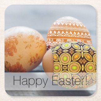 Rustic Painted Easter eggs Square Paper Coaster