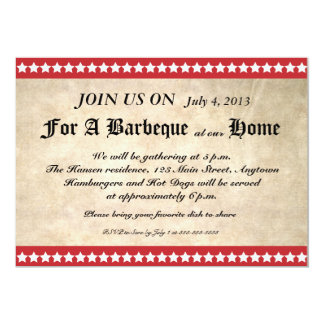Rustic Paper 4th of July Barbeque Invitation