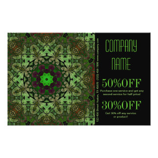 rustic pattern abstract business green damask flyer
