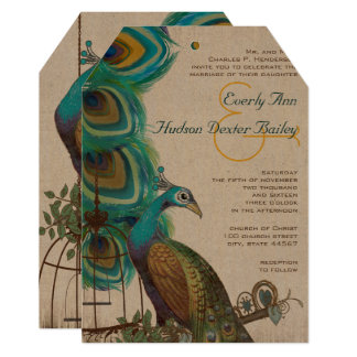 Rustic Peacock Bird Cage Feather Wedidng Invites