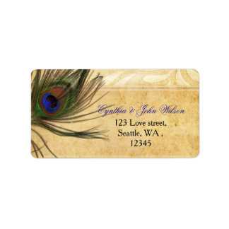 Rustic Peacock Feather return address label