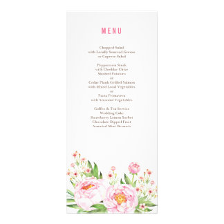 Rustic Peonies Wedding Menu Custom Rack Cards