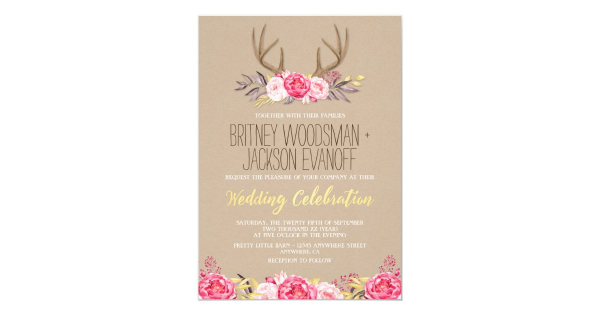 Rustic Wedding Invitations Nz: Rustic Peony And Deer Antler Wedding Invitations