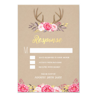 Rustic Peony and Deer Antler Wedding RSVP Cards