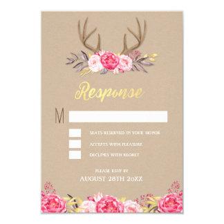 Rustic Peony and Deer Antler Wedding RSVP Cards 9 Cm X 13 Cm Invitation Card