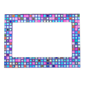 Rustic Pink And Blue Mosaic 'Clay' Tiles Pattern Photo Frame Magnet
