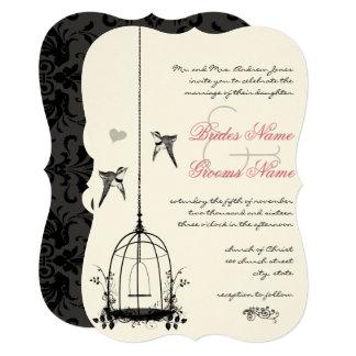 Rustic Pink Birdcage Rose Quartz Wedding Card