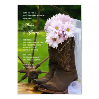 Rustic Pink Daisies Country Post Wedding Brunch 13 Cm X 18 Cm Invitation Card