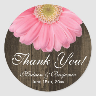 Rustic Pink Daisy Wedding Thank You Sticker