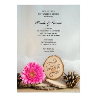 Rustic Pink Daisy Woodland Post Wedding Brunch 13 Cm X 18 Cm Invitation Card