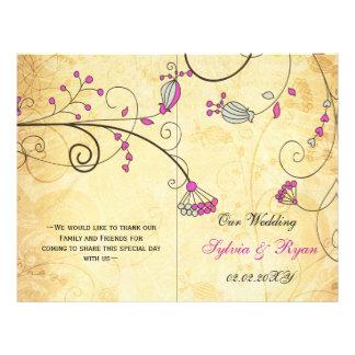 Rustic, pink floral folded , fall Wedding program 21.5 Cm X 28 Cm Flyer