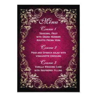 rustic pink gold regal wedding menu 13 cm x 18 cm invitation card