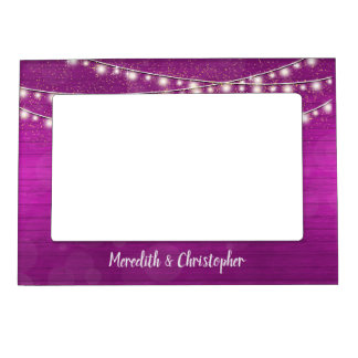 Rustic Pink Wood and String Lights Wedding Magnetic Picture Frame