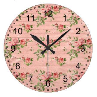 Rustic Pink Wood Roses Large Clock