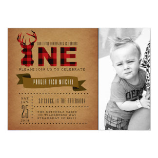 Rustic Plaid First Birthday Party Invite Photo