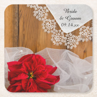 Rustic Poinsettia and Lace Country Winter Wedding Square Paper Coaster